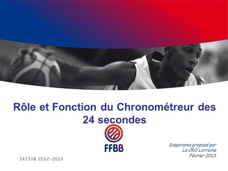 Rôle et Fonction du Chronométreur des 24 secondes SAISON 2012-2013 Diaporama proposé par La CRO Lorraine Février 2013