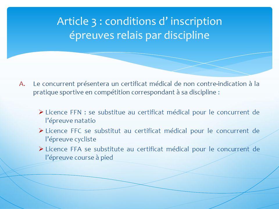 A.Le concurrent présentera un certificat médical de non contre-indication à la pratique sportive en compétition correspondant à sa discipline : Licenc