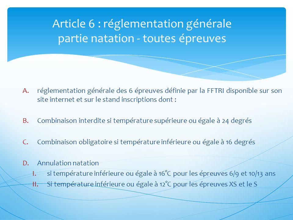 Article 6 : réglementation générale partie natation - toutes épreuves A.réglementation générale des 6 épreuves définie par la FFTRI disponible sur son