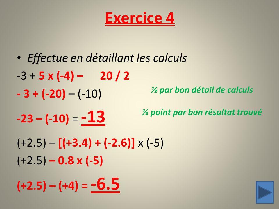 Effectue en détaillant les calculs -3 + 5 x (-4) – 20 / 2 - 3 + (-20) – (-10) -23 – (-10) = -13 (+2.5) – [(+3.4) + (-2.6)] x (-5) (+2.5) – 0.8 x (-5)