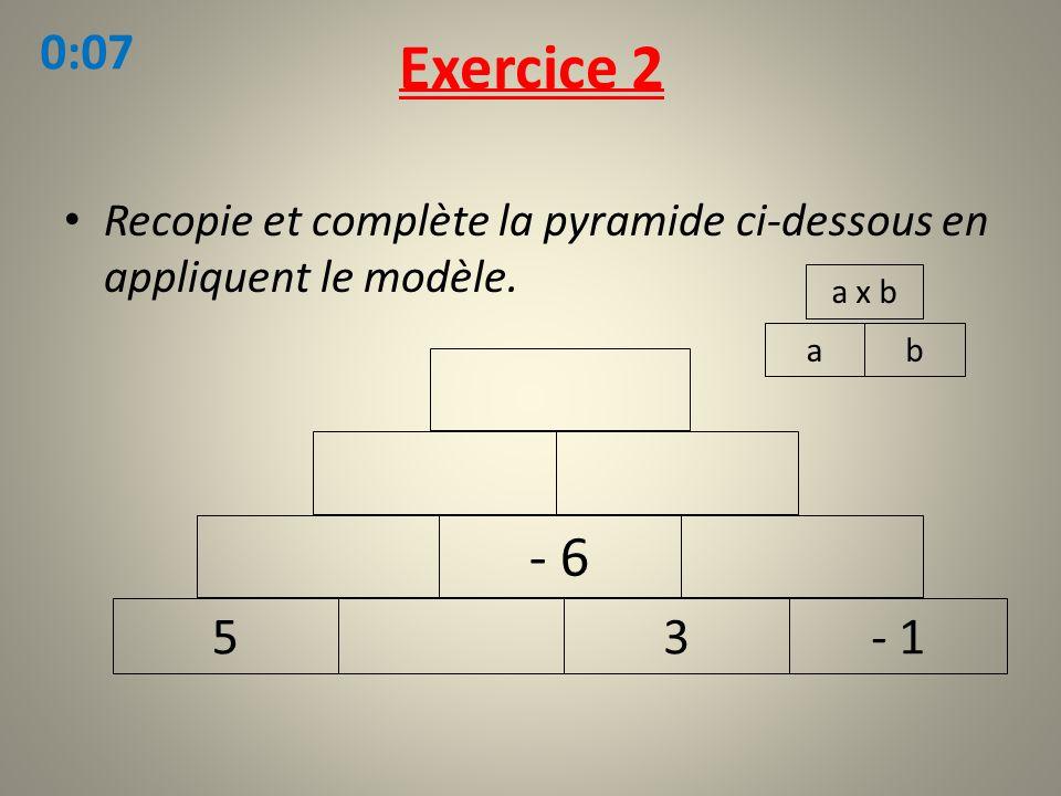 Exercice 2 Recopie et complète la pyramide ci-dessous en appliquent le modèle. ab a x b 53- 1 - 6 0:07