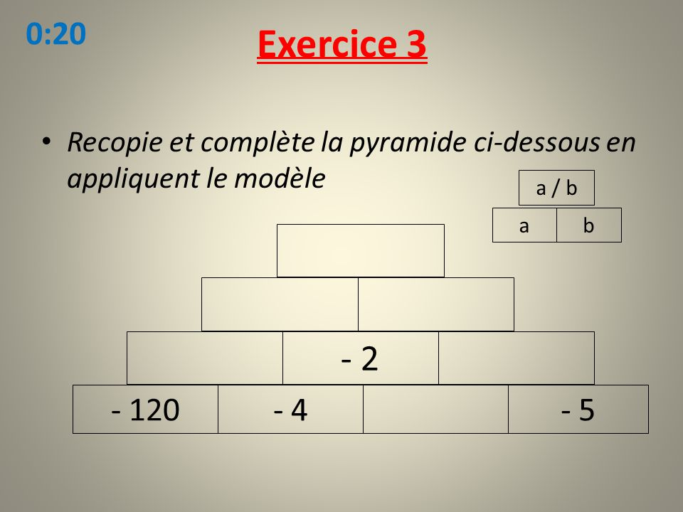 Recopie et complète la pyramide ci-dessous en appliquent le modèle Exercice 3 ab a / b - 120- 4- 5 - 2 0:20
