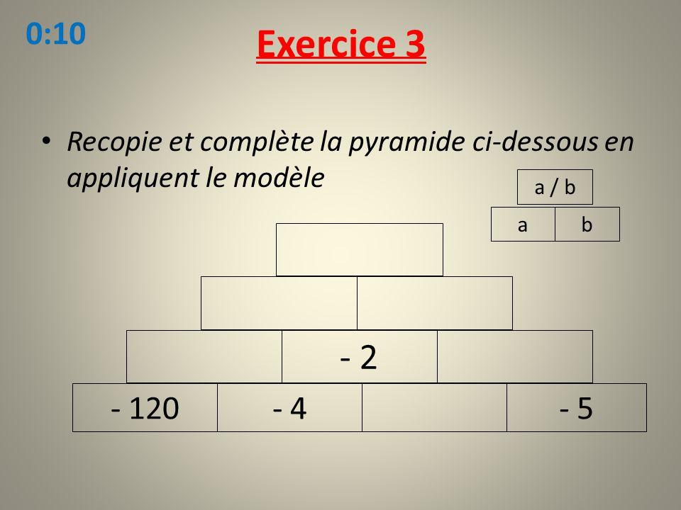 Recopie et complète la pyramide ci-dessous en appliquent le modèle Exercice 3 ab a / b - 120- 4- 5 - 2 0:10