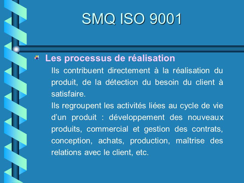 SMQ ISO 9001 Ils contribuent directement à la réalisation du produit, de la détection du besoin du client à satisfaire. Ils regroupent les activités l