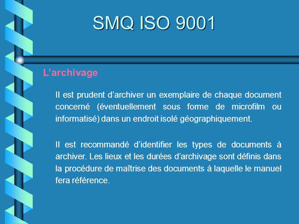 SMQ ISO 9001 Larchivage Il est prudent darchiver un exemplaire de chaque document concerné (éventuellement sous forme de microfilm ou informatisé) dan