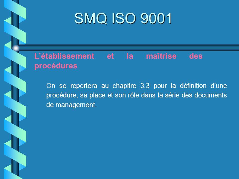 SMQ ISO 9001 Létablissement et la maîtrise des procédures On se reportera au chapitre 3.3 pour la définition dune procédure, sa place et son rôle dans