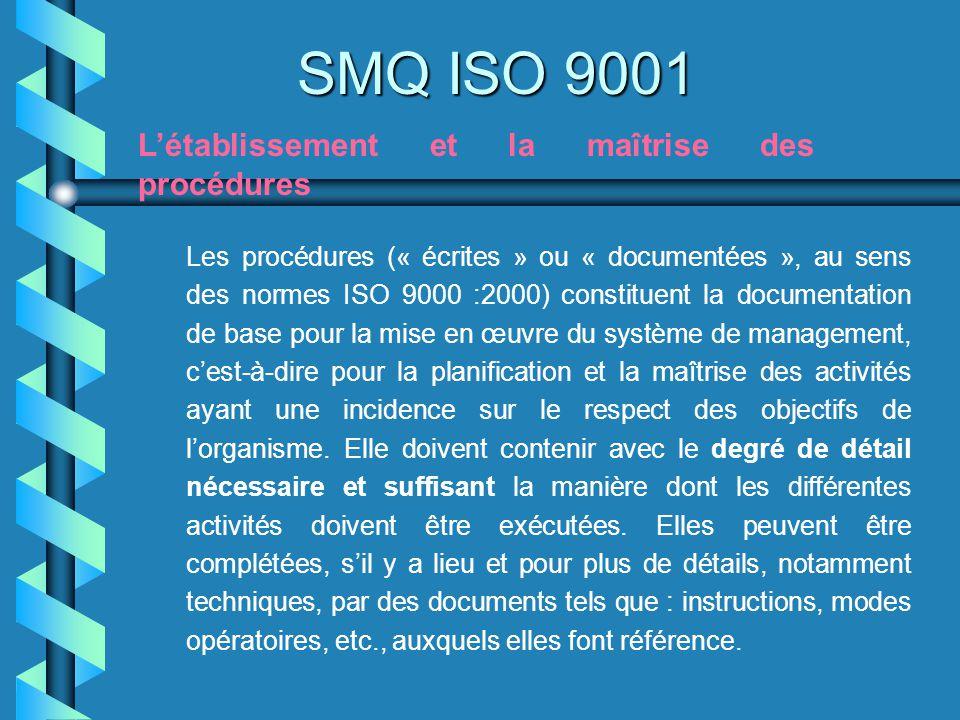 SMQ ISO 9001 Létablissement et la maîtrise des procédures Les procédures (« écrites » ou « documentées », au sens des normes ISO 9000 :2000) constitue