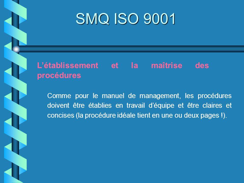 SMQ ISO 9001 Létablissement et la maîtrise des procédures Comme pour le manuel de management, les procédures doivent être établies en travail déquipe
