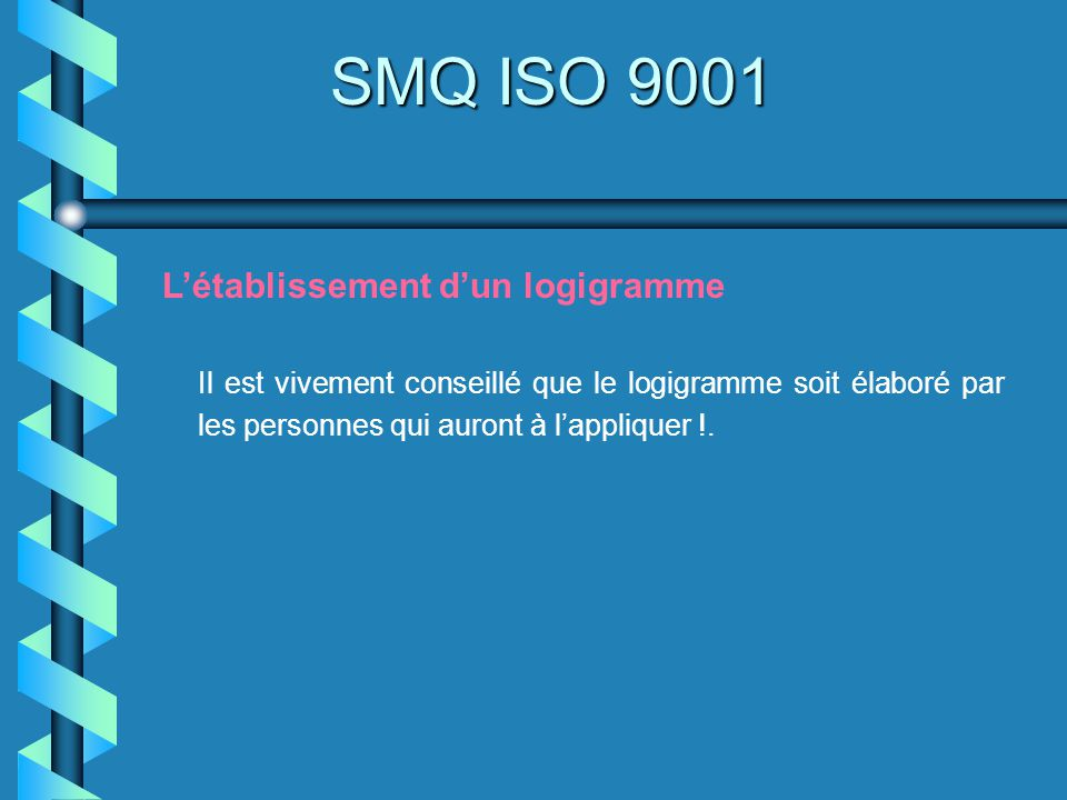 SMQ ISO 9001 Létablissement dun logigramme Il est vivement conseillé que le logigramme soit élaboré par les personnes qui auront à lappliquer !.