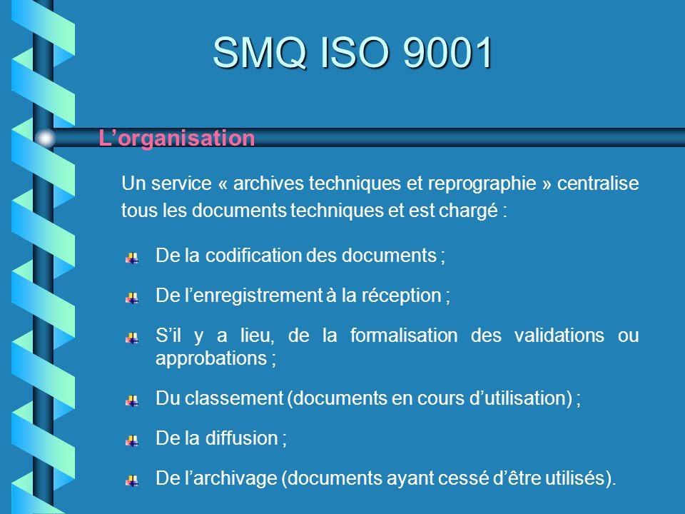 SMQ ISO 9001 Lorganisation Un service « archives techniques et reprographie » centralise tous les documents techniques et est chargé : De la codificat