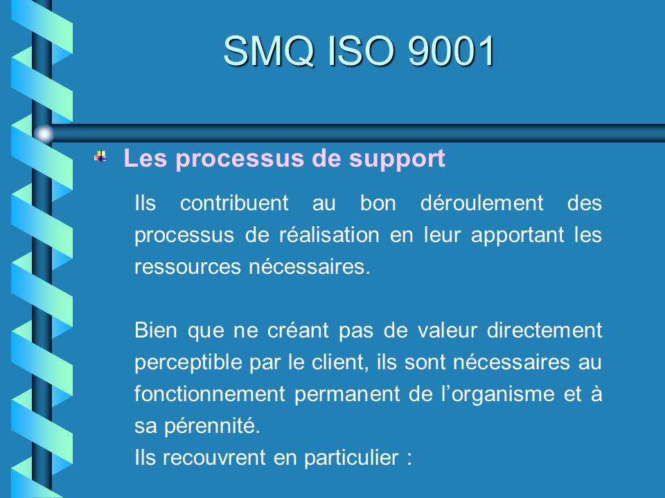 SMQ ISO 9001 Ils contribuent au bon déroulement des processus de réalisation en leur apportant les ressources nécessaires. Bien que ne créant pas de v