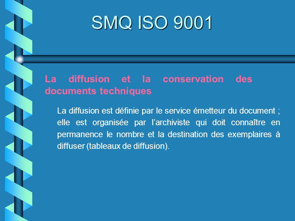 SMQ ISO 9001 La diffusion et la conservation des documents techniques La diffusion est définie par le service émetteur du document ; elle est organisé