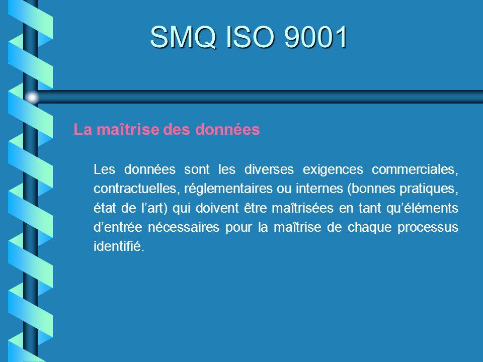 SMQ ISO 9001 La maîtrise des données Les données sont les diverses exigences commerciales, contractuelles, réglementaires ou internes (bonnes pratique