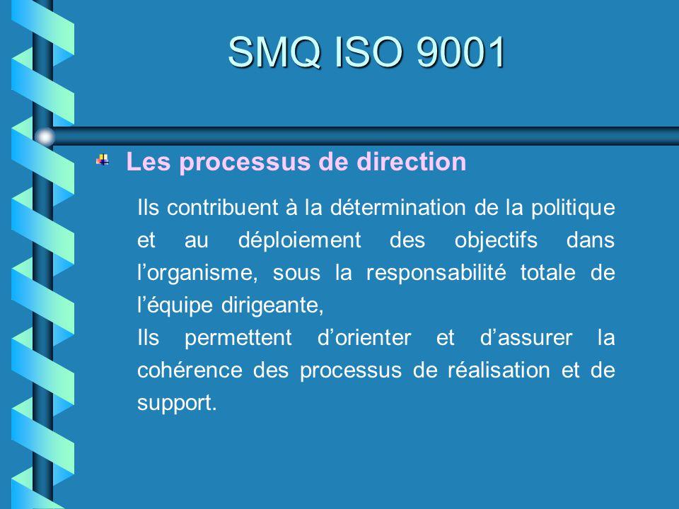 SMQ ISO 9001 Ils contribuent à la détermination de la politique et au déploiement des objectifs dans lorganisme, sous la responsabilité totale de léqu