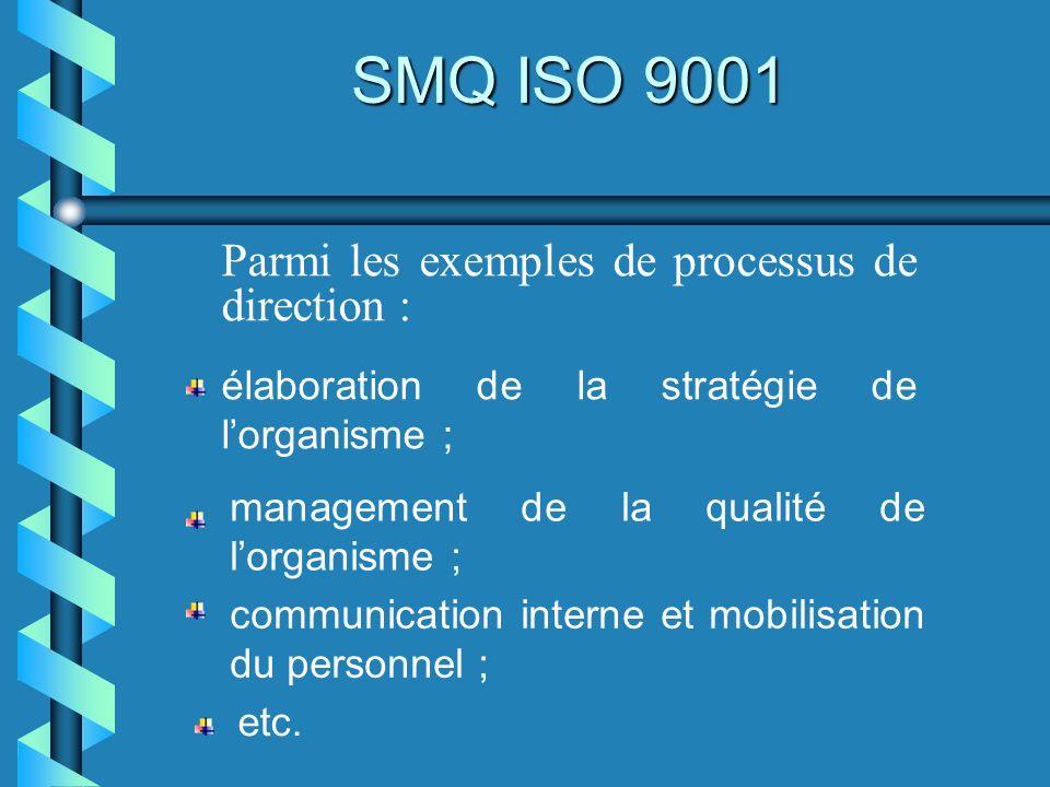 SMQ ISO 9001 Parmi les exemples de processus de direction : élaboration de la stratégie de lorganisme ; management de la qualité de lorganisme ; commu