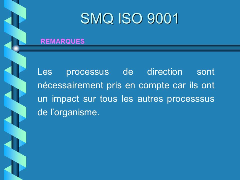 Les processus de direction sont nécessairement pris en compte car ils ont un impact sur tous les autres processsus de lorganisme. REMARQUES SMQ ISO 90