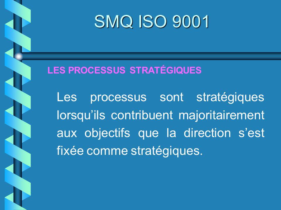 Les processus sont stratégiques lorsquils contribuent majoritairement aux objectifs que la direction sest fixée comme stratégiques. LES PROCESSUS STRA