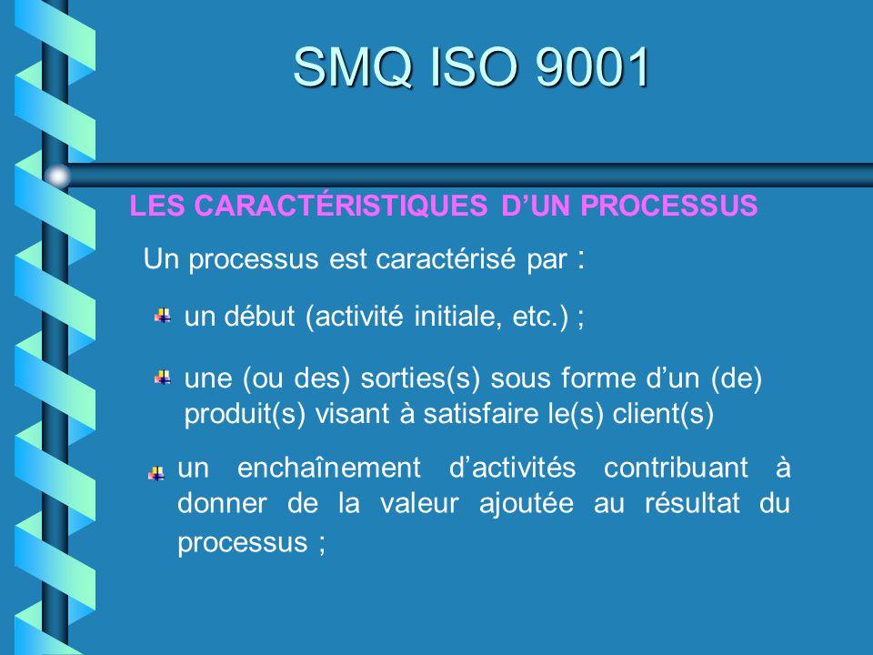 LES CARACTÉRISTIQUES DUN PROCESSUS SMQ ISO 9001 Un processus est caractérisé par : un début (activité initiale, etc.) ; une (ou des) sorties(s) sous f