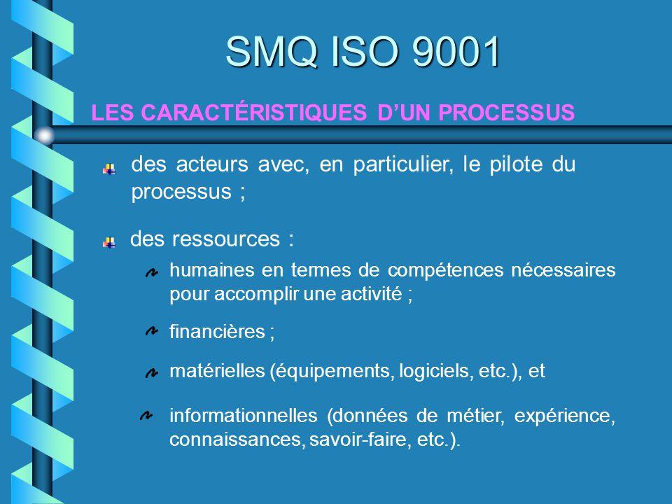 LES CARACTÉRISTIQUES DUN PROCESSUS SMQ ISO 9001 des acteurs avec, en particulier, le pilote du processus ; des ressources : humaines en termes de comp