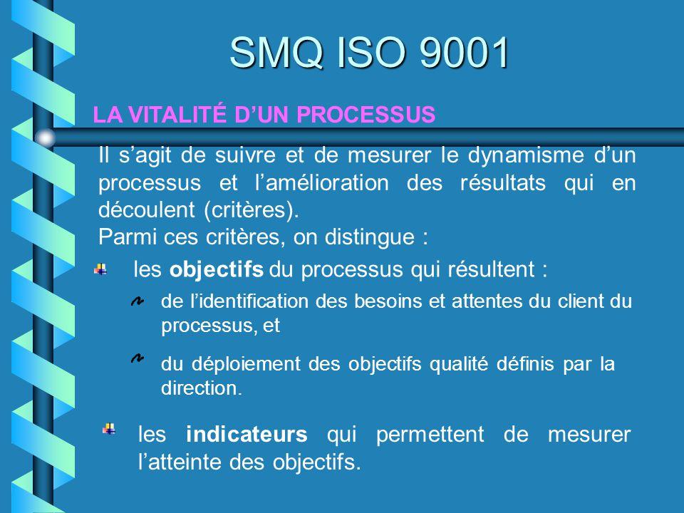 LA VITALITÉ DUN PROCESSUS SMQ ISO 9001 Il sagit de suivre et de mesurer le dynamisme dun processus et lamélioration des résultats qui en découlent (cr