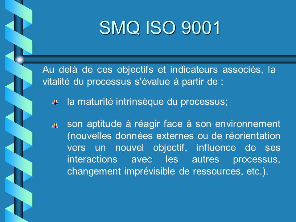 SMQ ISO 9001 Au delà de ces objectifs et indicateurs associés, la vitalité du processus sévalue à partir de : la maturité intrinsèque du processus; so