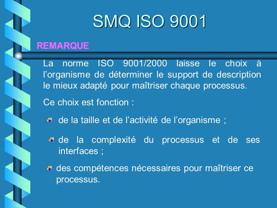 REMARQUE SMQ ISO 9001 La norme ISO 9001/2000 laisse le choix à lorganisme de déterminer le support de description le mieux adapté pour maîtriser chaqu