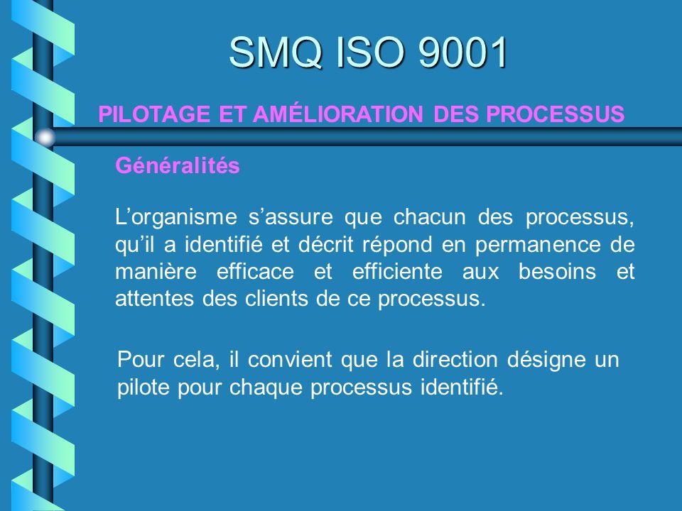 Généralités SMQ ISO 9001 Lorganisme sassure que chacun des processus, quil a identifié et décrit répond en permanence de manière efficace et efficient
