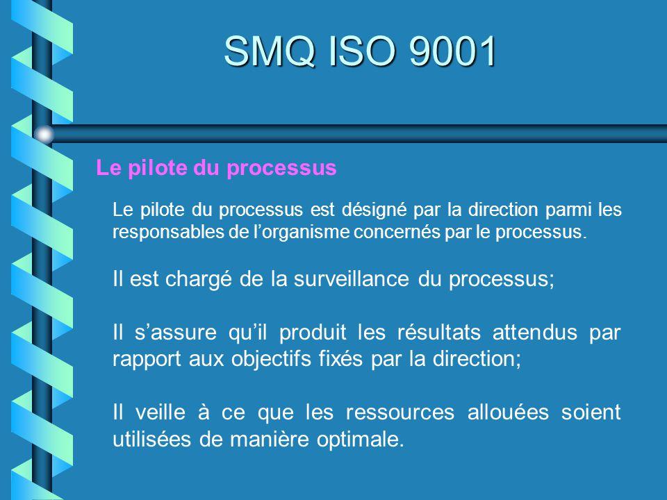 SMQ ISO 9001 Le pilote du processus est désigné par la direction parmi les responsables de lorganisme concernés par le processus. Il est chargé de la