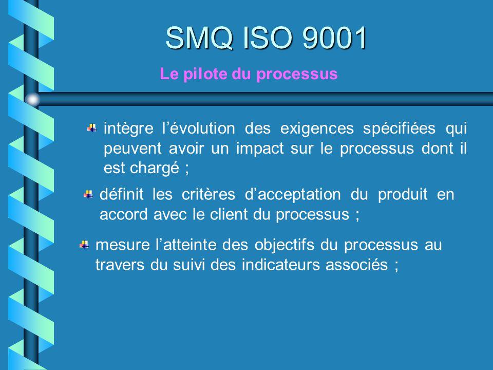 SMQ ISO 9001 intègre lévolution des exigences spécifiées qui peuvent avoir un impact sur le processus dont il est chargé ; définit les critères daccep