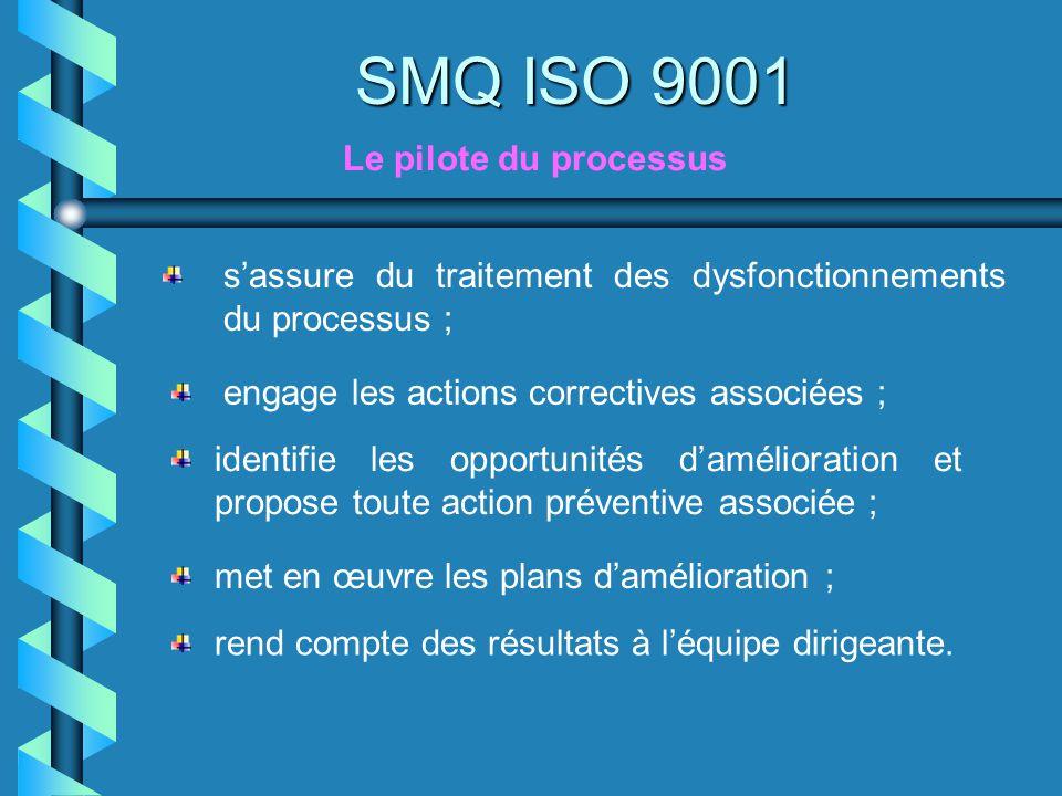 Le pilote du processus SMQ ISO 9001 sassure du traitement des dysfonctionnements du processus ; engage les actions correctives associées ; identifie l