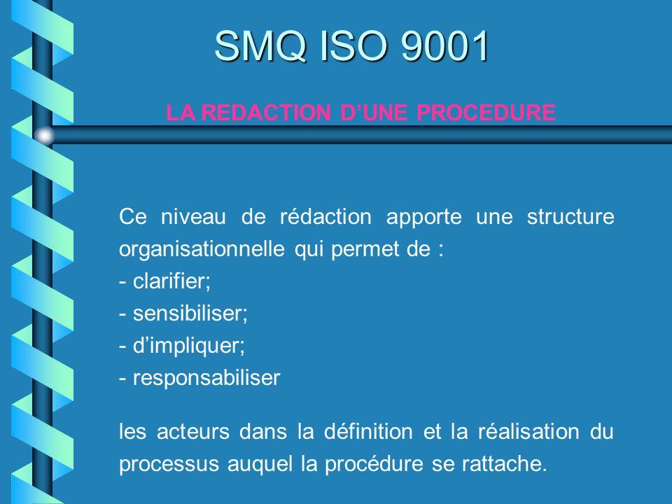 Ce niveau de rédaction apporte une structure organisationnelle qui permet de : - clarifier; - sensibiliser; - dimpliquer; - responsabiliser les acteur
