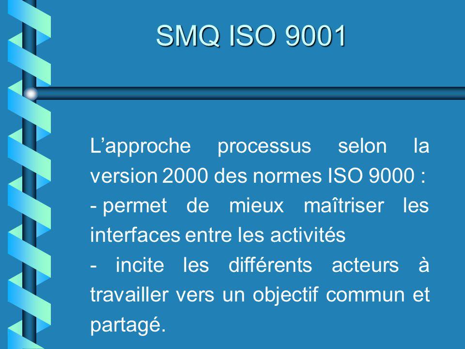 SMQ ISO 9001 intègre lévolution des exigences spécifiées qui peuvent avoir un impact sur le processus dont il est chargé ; définit les critères dacceptation du produit en accord avec le client du processus ; mesure latteinte des objectifs du processus au travers du suivi des indicateurs associés ;