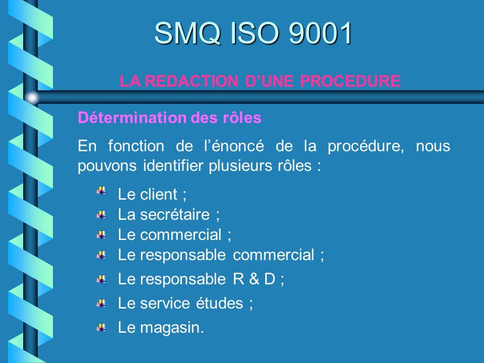 SMQ ISO 9001 LA REDACTION DUNE PROCEDURE En fonction de lénoncé de la procédure, nous pouvons identifier plusieurs rôles : Le commercial ; Le client ;