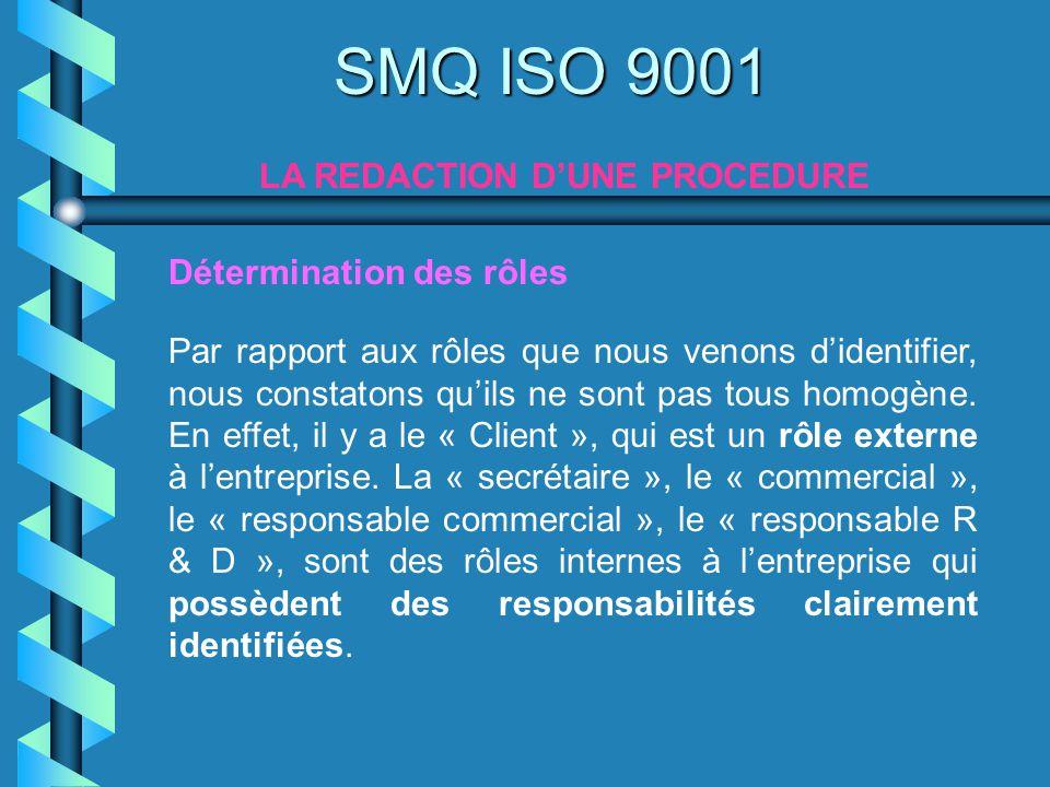 SMQ ISO 9001 LA REDACTION DUNE PROCEDURE Par rapport aux rôles que nous venons didentifier, nous constatons quils ne sont pas tous homogène. En effet,