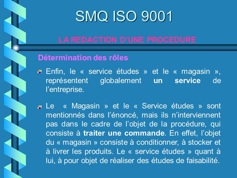SMQ ISO 9001 LA REDACTION DUNE PROCEDURE Enfin, le « service études » et le « magasin », représentent globalement un service de lentreprise. Détermina