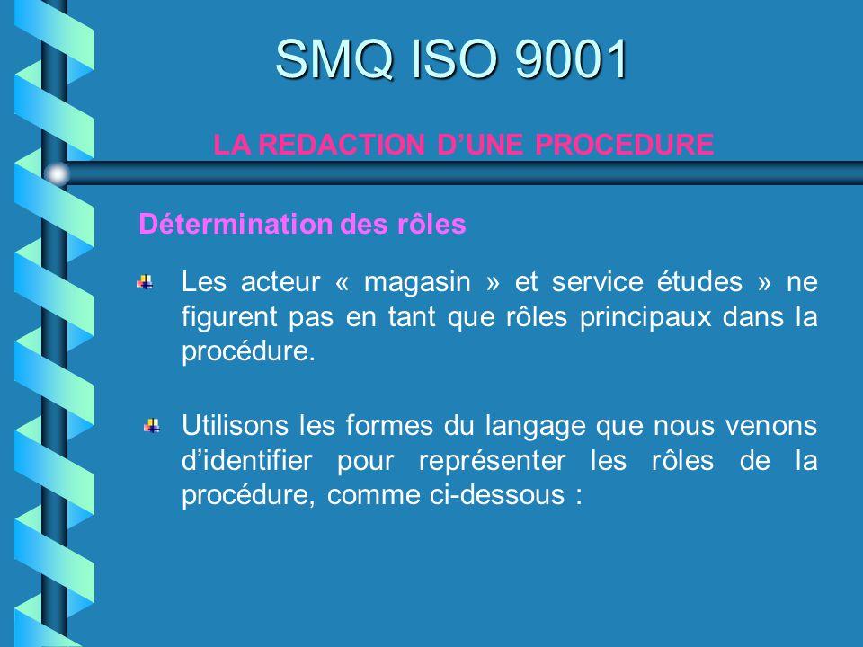 SMQ ISO 9001 LA REDACTION DUNE PROCEDURE Les acteur « magasin » et service études » ne figurent pas en tant que rôles principaux dans la procédure. Dé