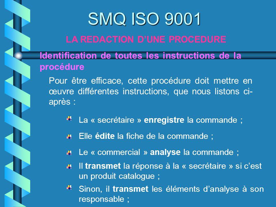 SMQ ISO 9001 LA REDACTION DUNE PROCEDURE Pour être efficace, cette procédure doit mettre en œuvre différentes instructions, que nous listons ci- après