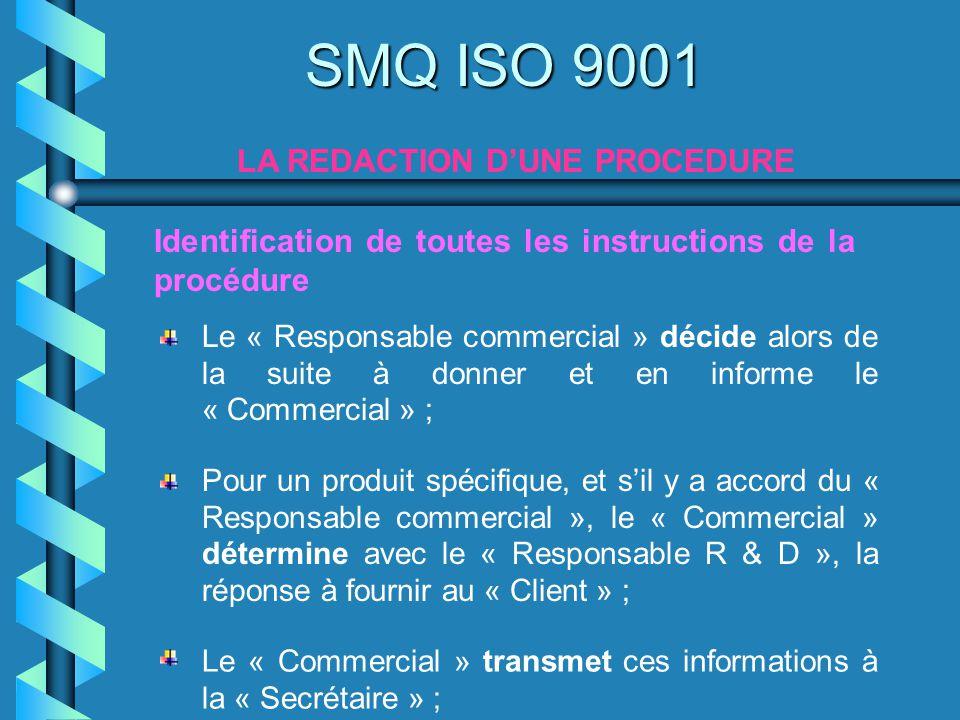 SMQ ISO 9001 LA REDACTION DUNE PROCEDURE Identification de toutes les instructions de la procédure Pour un produit spécifique, et sil y a accord du «