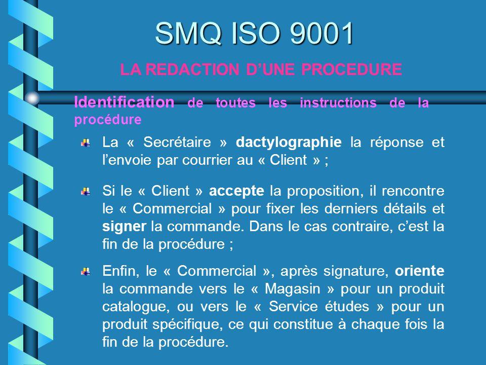 SMQ ISO 9001 LA REDACTION DUNE PROCEDURE Identification de toutes les instructions de la procédure Si le « Client » accepte la proposition, il rencont