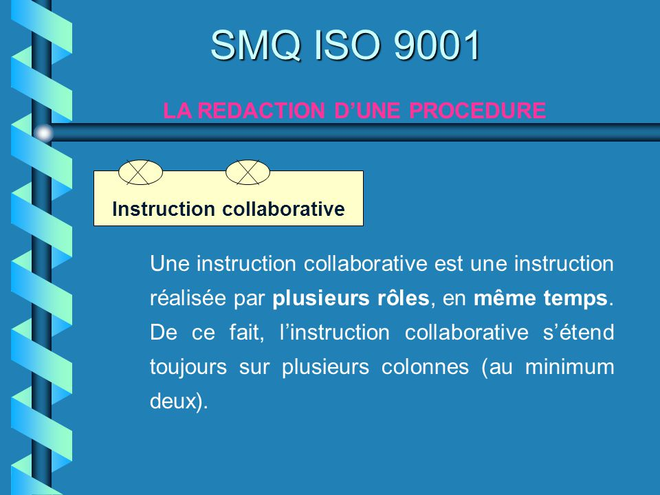 SMQ ISO 9001 LA REDACTION DUNE PROCEDURE Une instruction collaborative est une instruction réalisée par plusieurs rôles, en même temps. De ce fait, li