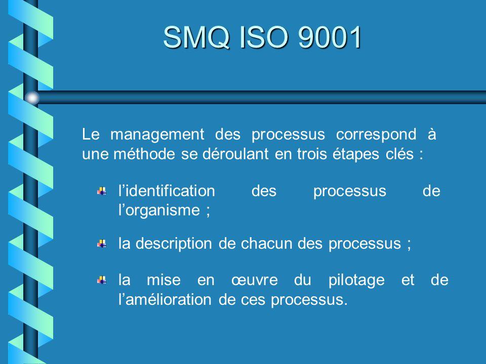 SMQ ISO 9001 IDENTIFICATION DES PROCESSUS Il nexiste pas de typologie unique des processus dun organisme.