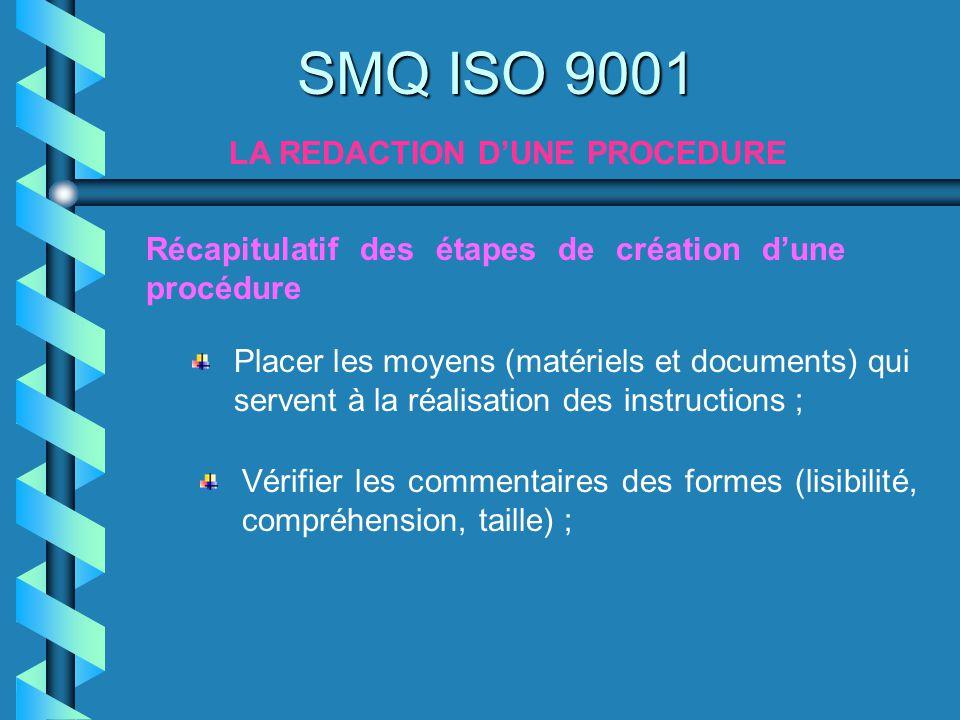 SMQ ISO 9001 LA REDACTION DUNE PROCEDURE Récapitulatif des étapes de création dune procédure Placer les moyens (matériels et documents) qui servent à