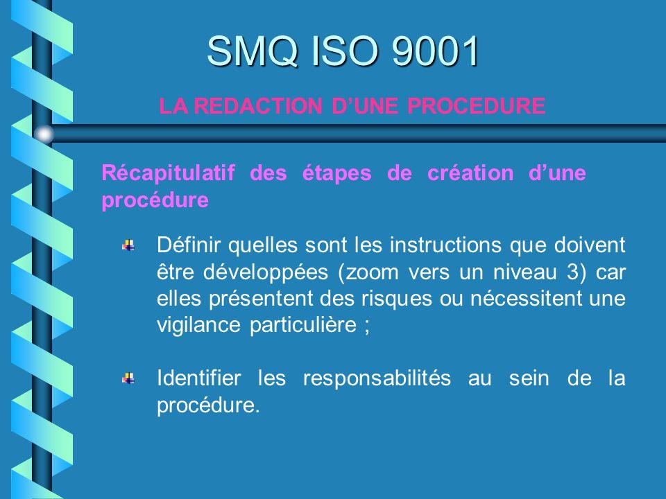 SMQ ISO 9001 LA REDACTION DUNE PROCEDURE Récapitulatif des étapes de création dune procédure Définir quelles sont les instructions que doivent être dé