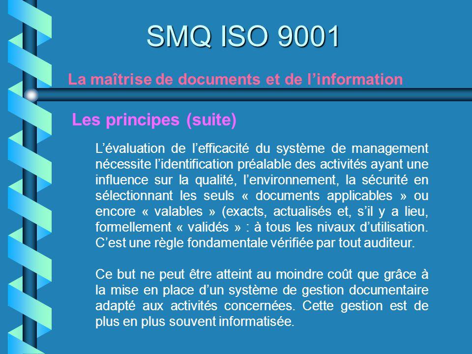 SMQ ISO 9001 La maîtrise de documents et de linformation Lévaluation de lefficacité du système de management nécessite lidentification préalable des a