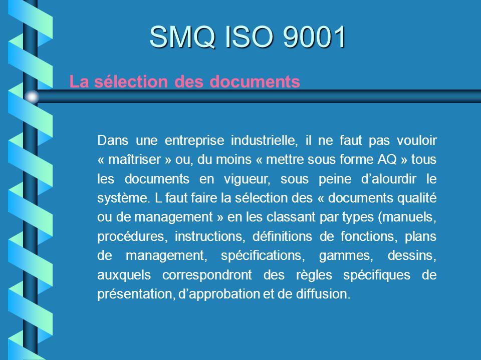 SMQ ISO 9001 La sélection des documents Dans une entreprise industrielle, il ne faut pas vouloir « maîtriser » ou, du moins « mettre sous forme AQ » t