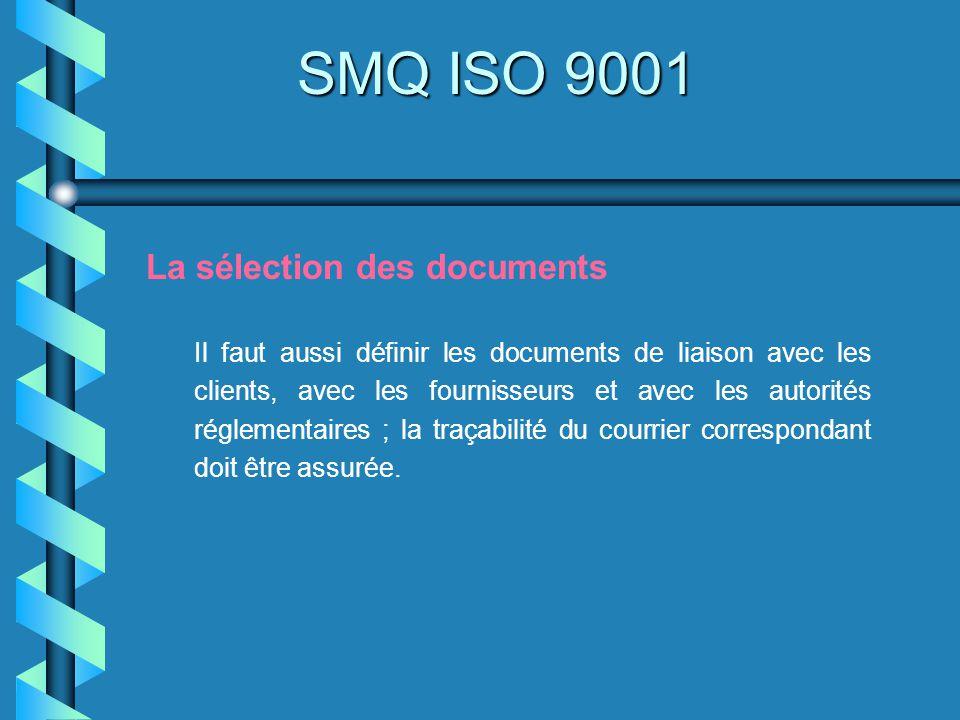 SMQ ISO 9001 La sélection des documents Il faut aussi définir les documents de liaison avec les clients, avec les fournisseurs et avec les autorités r