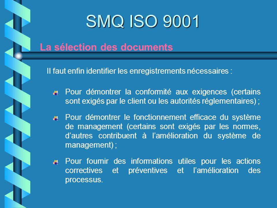 SMQ ISO 9001 La sélection des documents Il faut enfin identifier les enregistrements nécessaires : Pour démontrer la conformité aux exigences (certain