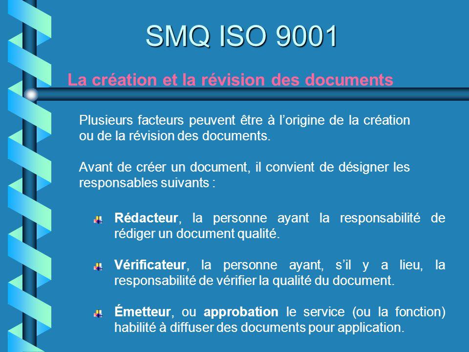 SMQ ISO 9001 La création et la révision des documents Plusieurs facteurs peuvent être à lorigine de la création ou de la révision des documents. Avant