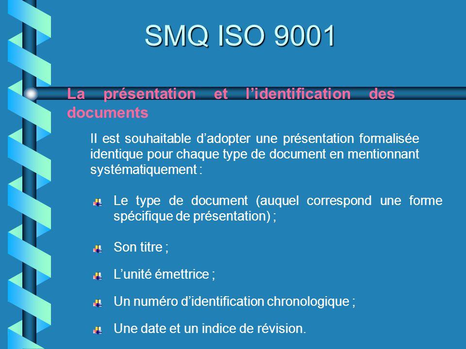 SMQ ISO 9001 La présentation et lidentification des documents Il est souhaitable dadopter une présentation formalisée identique pour chaque type de do
