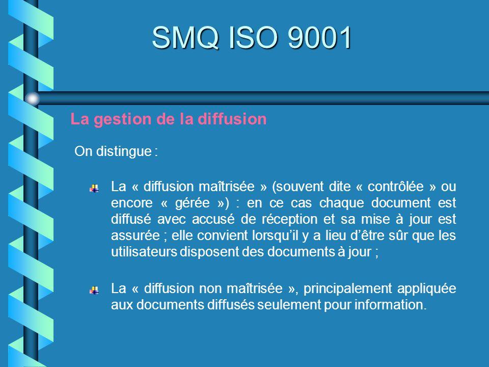 SMQ ISO 9001 La gestion de la diffusion On distingue : La « diffusion maîtrisée » (souvent dite « contrôlée » ou encore « gérée ») : en ce cas chaque